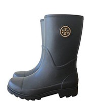 Tory Burch Maureen Rubber/Veg Leather Rainboots (8, Black)