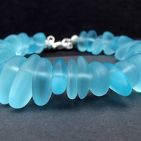 Ocean Blue Bracelet: Light Turquoise Blue Sea Glass Pebble Chunky Bracelet, Fall Autumn Beach Jewelry, 8 Inch Bracelet