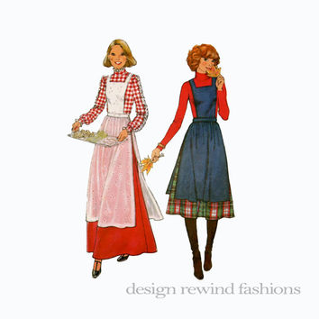 1970s Womens Bib Front Apron Jumper Pinafore & Maxi or Knee Length Skirt Simplicity 8114 Bust 36 Size 14 UNCUT Vintage Sewing Patterns