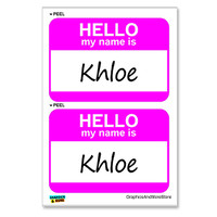 Khloe Hello My Name Is - Sheet of 2 Stickers