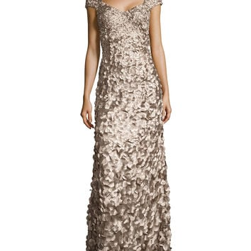 Women's Cap-Sleeve Satin Petal Gown, Taupe - Theia - Taupe