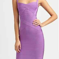 Celebrity Sexy purple bodycon cocktail evening party bandage dress sleeveless