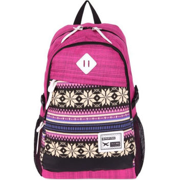 Red Ethnic Laptop Bag Daypack Backpack School Bookbag Travel Bag