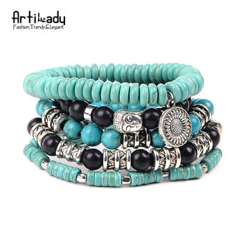 Artilady boho turquoise bracelet set buddha head beads 5pcs set bracelets for statement women jewelry party gift