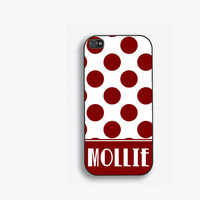 Burgundy Polka Dot Monogram Phone Case, iPhone 5, iPhone 5s, iPhone 5c, iPhone 4, iPhone 4s, Galaxy S3, S4 and S5  Name phone case FCM140