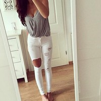 Womens Fashionable Rip Summer Pencil Jeans