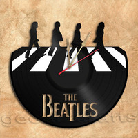 Wall Clock Beatles in Abbey Road Theme Version2 Vinyl Record Clock home decoration housewares Upcycled Gift Idea