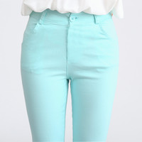 Candy High Waist Skinny Jeans - Mint