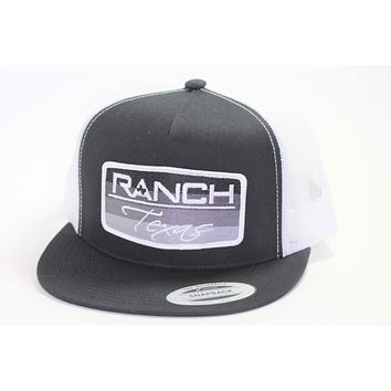 Red Dirt Hat Co Patch Ranch Texas Black/White Mesh Snap Back Trucker Hat