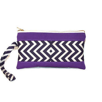 Purple chevron padded pouch, cell phone pouch, cell phone wristlet, gadget case, makeup case, purse organizer, zipper pouch, small wrist bag