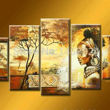 100% hand-painted wall art African  Landscape oil painting on canvas