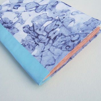 abstract, violet and blue, Jotter, Pocket Notebook, Mini Journal with ecru paper