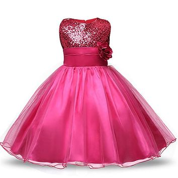 Fancy Children Kids Christmas Costume Prom Dresses Girl Sequins Tops Formal Ceremonies Party Gown Teenagers Girl Clothes 12 Year