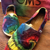 Rainbow Tie-dye TOMS Shoes, Custom Mens