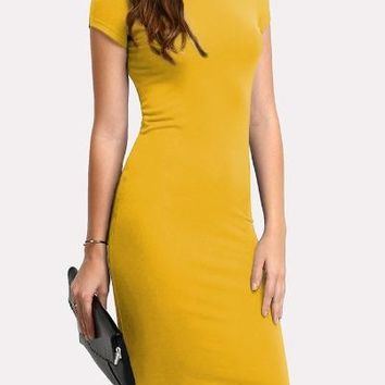 Yellow Solid Pencil Dress