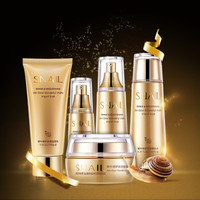 Bioaqua Gold Snail Moisturizing,Whitening Skin Care Set & Facial Cream Toner Essence milk Cleanser Whitening Cream 5pcs/set