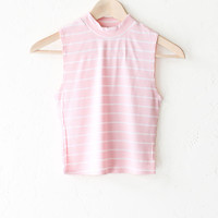 Striped Mock Neck Crop Top - Pink