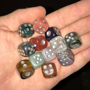 Mineral & Crystal Dice Hand Carved from All Natural Crystals and Minerals- Choose Yours- Standard siz
