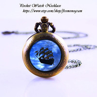 Peter Pan & pirate ship Pocket Watch Necklace,Bronzen Necklace,Women Necklace,Personalized Gift,vintage glass,Jewelry,Zodiac Pendant