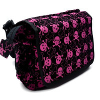 Black & Pink Skull Star Messenger Bag with Cell Phone Pocket