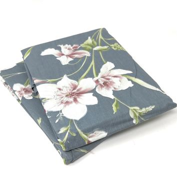 Tache 2 Piece Cotton Cherry Blossom Dusk Floral Grey Rustic Pillow Covers (TA2162-PC)