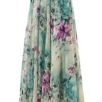 Women Chiffon Vintage Skirt 2016 women Summer Pleated Floral Printed Women Flared Saias Vestidos SunDress Beach Long Maxi Skirt