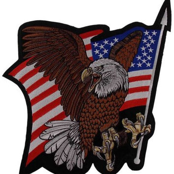 USA Flag Screaming Eagle Back Patch Embroidered Large Motorcycle Rider Jacket US