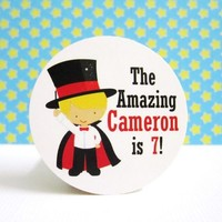 Magician and His Magic Show Birthday Party Label Stickers