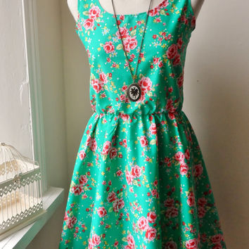 Floral Dress / Vintage Jade Green Rose Floral Dress / English Rose Dress