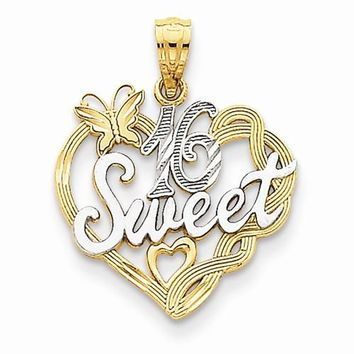 14k Gold and Rhodium Sweet 16 Pendant
