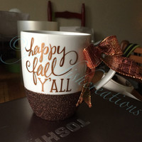 Happy Fall Y'all Coffee Mug / Custom Coffee Mug / Glitter Dipped Coffee Mug / Custom Glitter Cup / Glitter Dipped Coffee Cup