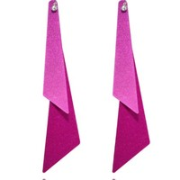 Saint Christine Fushia Triangle Tiered Earrings for Women and Girls
