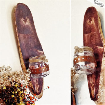 Cabin Style Wooden Candle Holder / Rustic Wood Candle Holder / Rustic Decor / Rustic Sconce / Wooden Wall Sconce / Hanging Candles