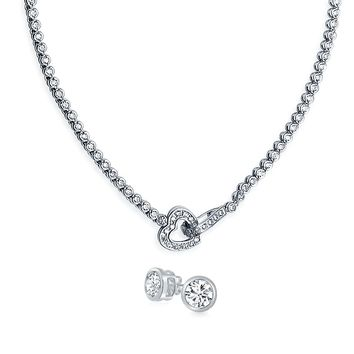 Bridal Round Bezel Tennis Necklace Earring Set Front Heart CZ Plated