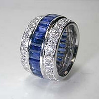 6.84ct Diamond Sapphire Eternity Wedding Ring 18kt JEWELFORME BLUE