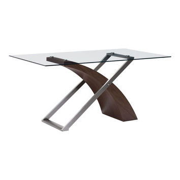 Outremont Dining Table Walnut Brushed Stainless Steel