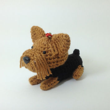 Yorkshire Terrier Amigurumi Dog Crochet Puppy Stuffed Animal Doll Yorkie Plush / Made to Order