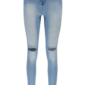 Sophie High Waisted Split Knee Skinny Jeans | Boohoo