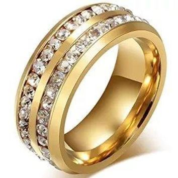 Mens Womens 8MM Titanium Stainless Steel High Polished 18K Gold Plated Channel Set Cubic Zirconia CZ Promise Engagement Band Unisex Gold Wedding Ring Comfort Fit, Size 6-13 (12, GOLD)