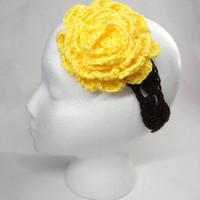 Crochet  Headband Brown With Yellow Flower by toppytoppy on Etsy