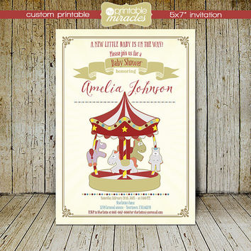 Amusement invitation, Carousel baby shower invite, Printable carnival invitation card / Personalized, digital printable file