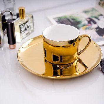 Mirror Effects Gold or Silver Plated over Bone China Coffee or Tea Cup with Saucer