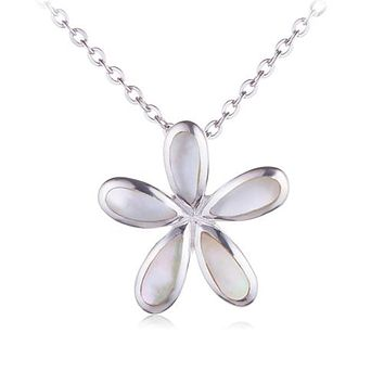 Plumeria Sterling Silver Pendant Mother-of-pearl Inlay(Chain Sold Separately)