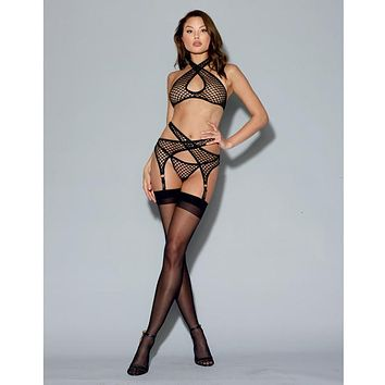 Dreamgirl Fishnet Gartered Bralette Set Black
