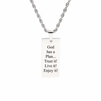 Rectangle inspirational Tag Necklace - GOD HAS A PLAN