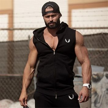 Men Cotton Hoodie Sweatshirts fitness clothes bodybuilding tank top men Sleeveless Tees Shirt Casual golds vest