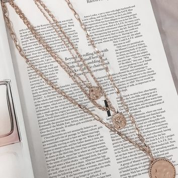 Drop In Gold Triple Layer Coin Chain Necklace