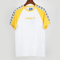 Adidas Trending Women Casual Stylish Embroidery Round Collar T-Shirt Top Yellow