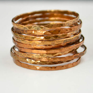Super Thin Golden Copper Stackable Ring(s), Copper Ring, Skinny Ring, Copper Band, Gold Copper Ring, Hammered Ring, Arthritis Ring, Alari