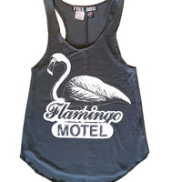 Vintage Beach FLAMINGO Motel Free Bird Resort Racerback Tank Top